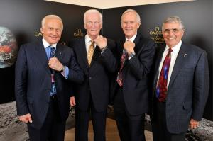 The astronauts Harrison Schmitt, Thomas Stafford, Eugene Cernan, Charles Duke and Buzz Aldrin, from left, pose after a press conference at the Omega booth at the world watch and jewellery show 'Baselworld' in Basel, Switzerland, Saturday, March 28, 2009. Omega presented the 'Omega Speedmaster Professional Moonwatch Apollo 11 40th Anniversary Limited Edition' wristwatch in presence of the astronauts.