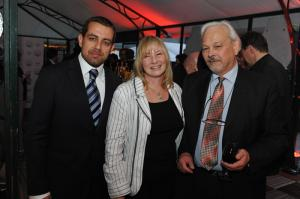 (left to right): Leonid Khankin (owner and creative director Ernst Benz), Elizabeth Doerr and Philippe Dufour enjoy the Baselworld party on March 27, 2009.