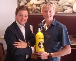 Ben Southall being presented with an Alpina Extre Diver