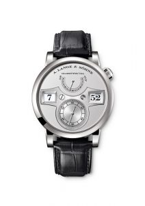 LANGE ZEITWERK, platinum, dial rhodié, time bridge made of untreated German silver. Manually wound, jumping hours and minutes, small seconds hand with stop seconds, power-reserve indicator. Lange manufacture calibre L043.1 with constant-force escapement.