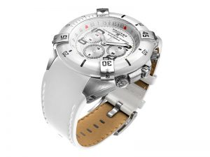 "Navitec ""Tango Charlie Automatique"" chronograph: steel case with white ceramic bezel decorated with 4 steel horsemen, white dial with graduated flange, white real leather strap."