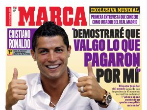 Cristiano Ronaldo (Portuguese soccer superstar) was on the cover of MARCA (the Spanish sport newspaper) this weekend wearing a CORUM Admiral's Cup Competition 48 mm.