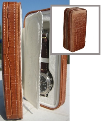 Two-watch leather travelling case
