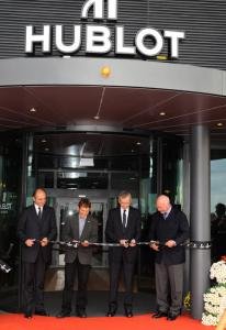 The Hublot manufacture inauguration: Philippe Pascal, Daniel Rosselat, Bernard Arnault and Jean-Claude Biver