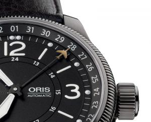 The date on the famous Oris pointer calendar movement is indicated by a tiny Hunter jet.
