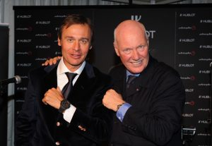 Hublot's CEO Jean-Claude Biver, side by side with Ernesto Bertarelli, the president of Alinghi