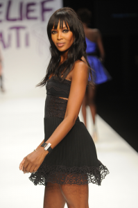 Naomi Campbell wearing a de GRISOGONO Lipstick watch
