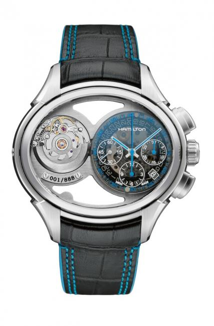 The chronograph side of the Hamilton Jazzmaster Face 2 Face