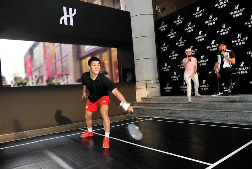 Olympic champion Fu Haifeng at the Hublot Badminton tournament in Dalian