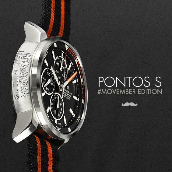 Maurice Lacroix special edition Pontos S, engraved with the 2013 Movember moustache.