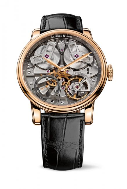 Arnold & Son TB88 with 18-carat rose gold case, grey open dial, case diameter 46 mm, A&S5003 exclusive Arnold & Son mechanical movement, hand-wound