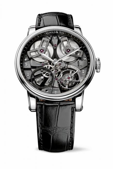 Arnold & Son TB88 with Stainless steel case, black open dial, case diameter 46 mm, A&S5003 exclusive Arnold & Son mechanical movement, hand-wound