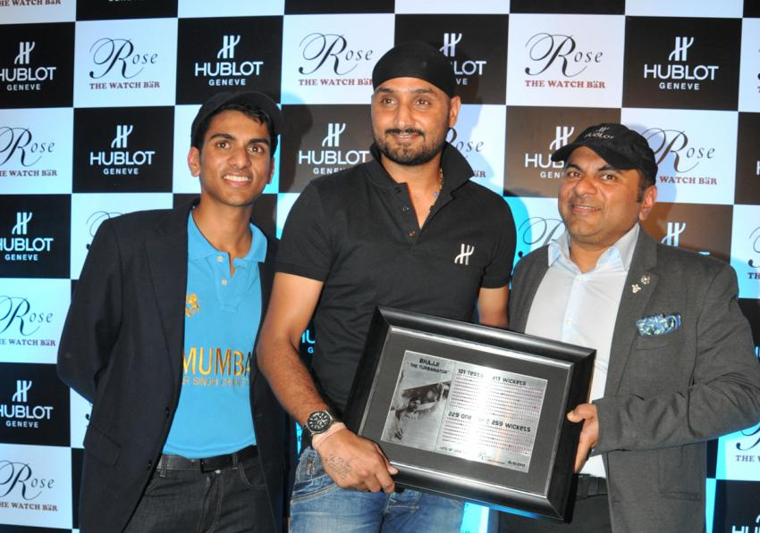 Harbhajan Singh was presented a plaque made of more than 600 rubies