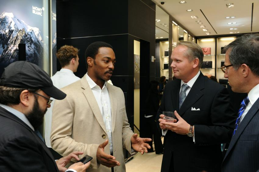 Actor Anthony Mackie at Montblanc boutique opening in New York