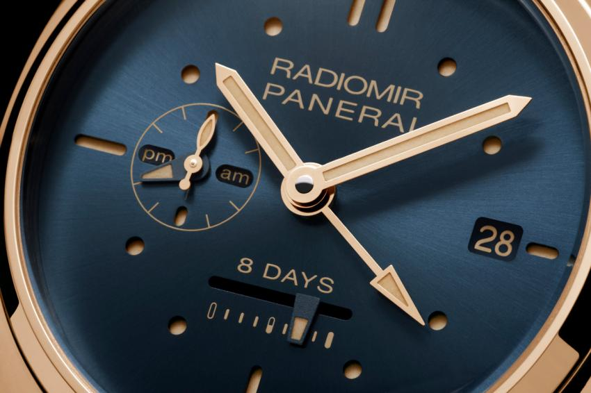 A closer look at the elegant dial of the Radiomir 8 Days GMT Oro Rosso