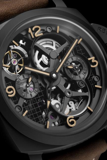 A closer look at the dial of the Panerai Lo Scienziato – Luminor 1950 Tourbillon GMT Ceramica