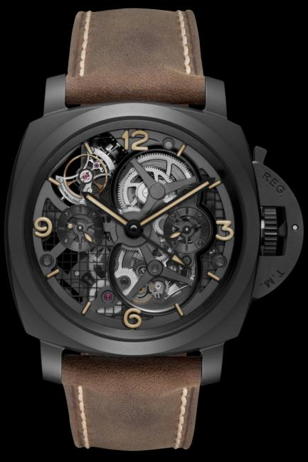 The front of the Lo Scienziato – Luminor 1950 Tourbillon GMT Ceramica