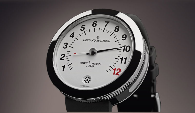 Contagiri in stainless steel and DLC with an argentè dial, by Giuliano Mazzuoli