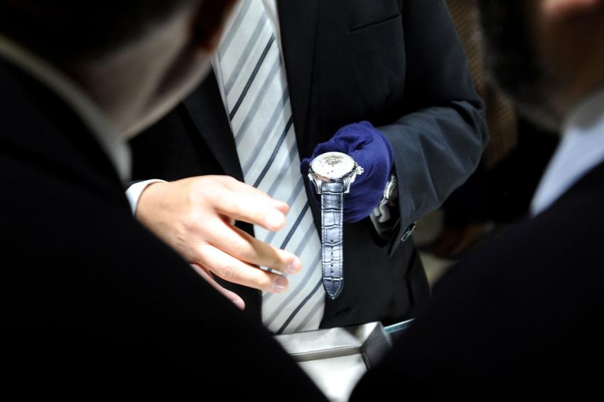A Montblanc ExoTourbillon Rattrapante admired by the guests