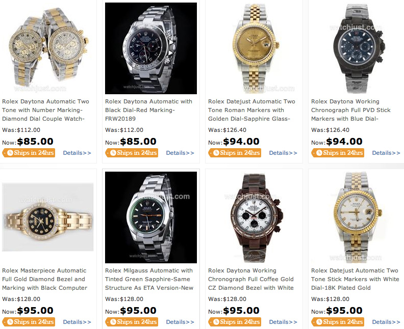 Screen capture of a website selling fake Rolexes.