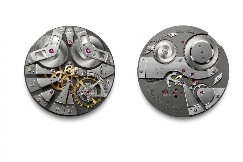 Exclusive Arnold & Son A&S5003 hand-wound mechanical movement, with each of its 16 pivoting elements mounted on its own bridge.