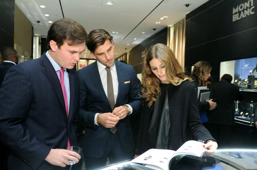 Johannes Huebl and Olivia Palermo at the Montblanc boutique opening in New York