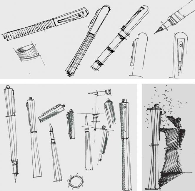 Sketches of pens by Giuliano Mazzuoli