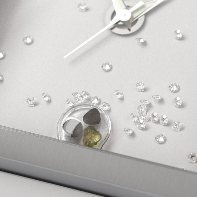 A closeup on the space gems and diamonds that decorate the Nuvati dial.