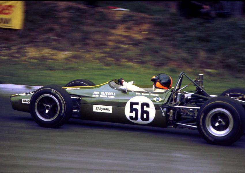Emerson in the Jim Russell Racing Drivers School F3 Lotus 59 in the 1969 F3 Guards Trophy at Brands Hatch (Source: Wikimedia Commons)