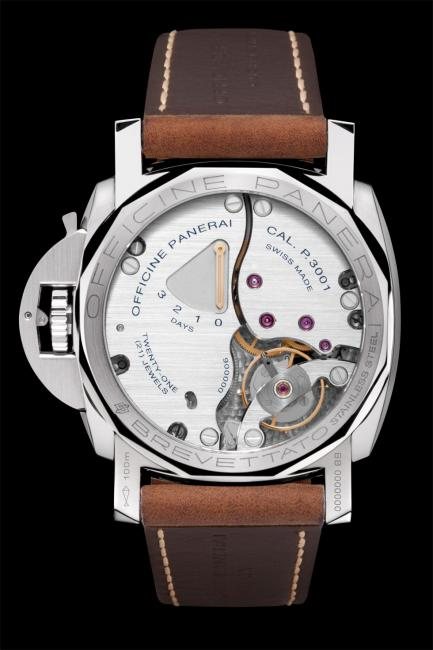 The back of a Panerai Luminor Marina 1950 3 Days (PAM00422).