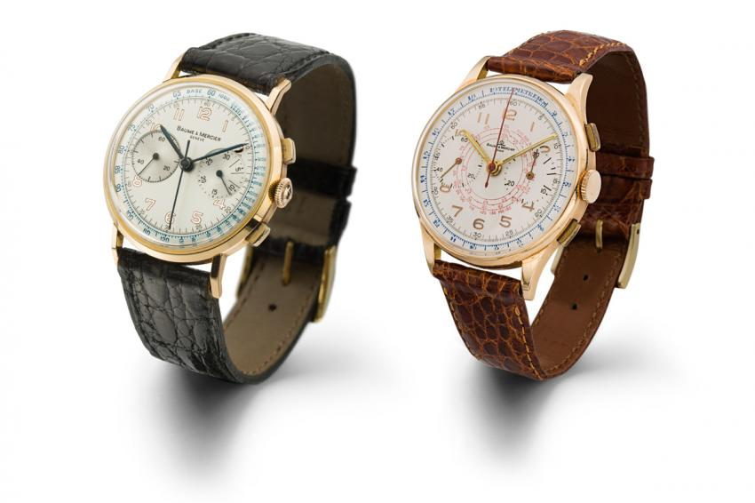 Baume & Mercier Column-wheel chronograph watch from 1940 and a Chronograph with tachymeter and telemeter functions, 1950.