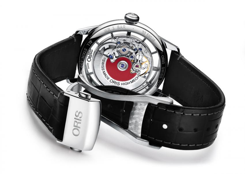The 'skeletonised' movement holder of the new Oris Artelier Translucent discloses an unrestricted view.