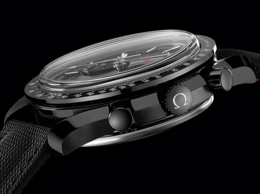 Push buttons and crown of the new Omega Speedmaster