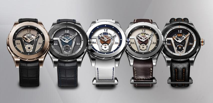 The Valbray Oculus V.02 Grand Dateur lineup: Gold Tie, Cool Blue, Nautic, Safari, Road 66