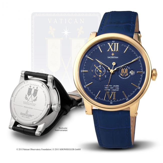 "Kronsegler Official Vatican Observatory Watch ""Sacristan"" - Automatic Men's Watch gold-blue"