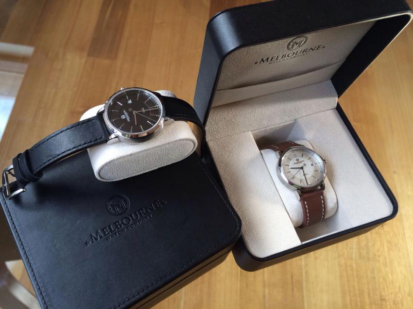 The Flinders will be shipped in a very elegant leather style box featuring the Melbourne Watch Company logo.