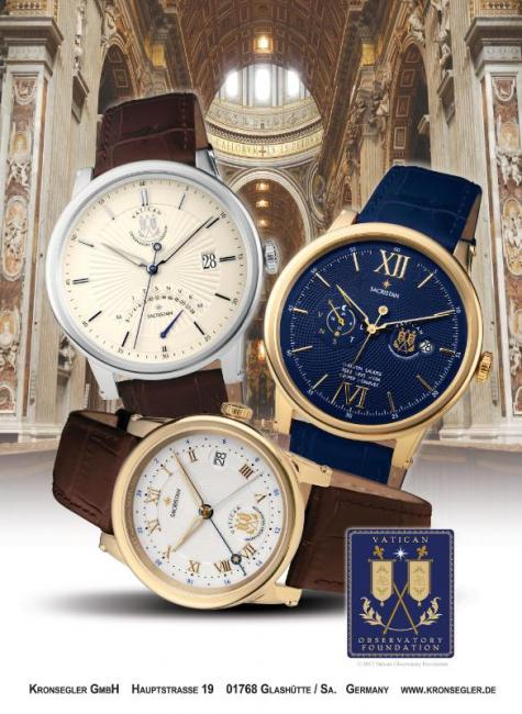 The Sacristan watches by Kronsleger bear the official seal of the Vatican Observatory Foundation