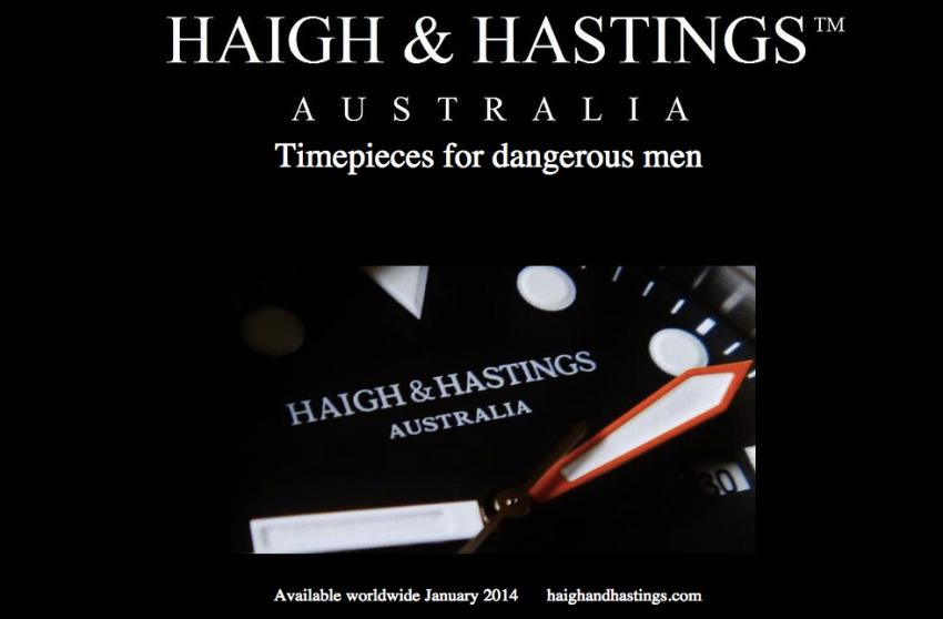 A teaser image of the upcoming Haigh & Hastings watch