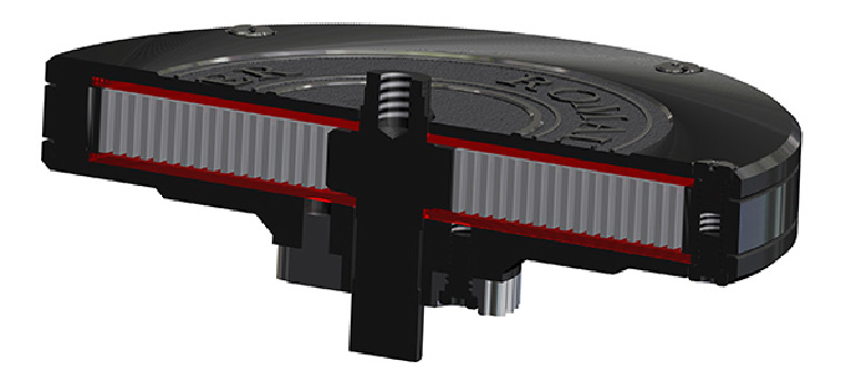 Note the two synthetic sapphire plates covering the mainspring.