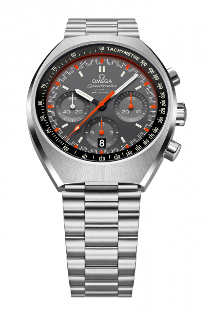 Omega Speedmaster Mark II with grey dial and fluorescent orange central chronograph seconds hand and a matching minute track