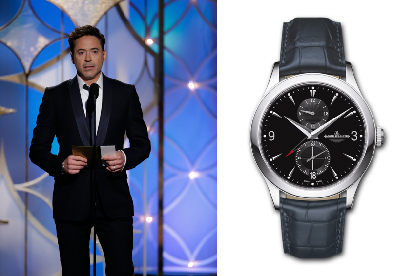 Robert Downey Junior wearing a  Jaeger-LeCoultre Master Hometime Aston Martin