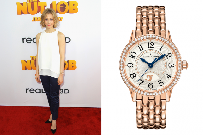 Sarah Gadon wearing Jaeger-LeCoultre Rendez-Vous Night & Day in pink gold