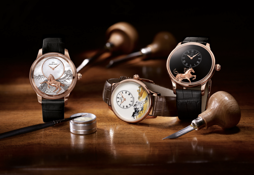 In 2014, Jaquet Droz launches three new Ateliers d'Art models, using highly complex techniques: engraving, painting and Grand Feu enamel.