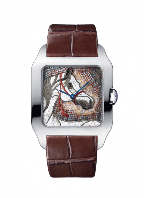 Cartier Santos-Dumont XL  white gold watch with a  horse mosaic made of  gemstone mosaic