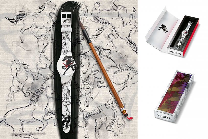 The design of the Swatch Year Of The Horse recalls the traditional Chinese painting and calligraphy.