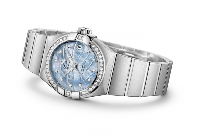"OMEGA Constellation ""Pluma"", with blue mother-of-pearl dial, diamond-paved bezel, smooth stainless steel case and a matching bracelet."