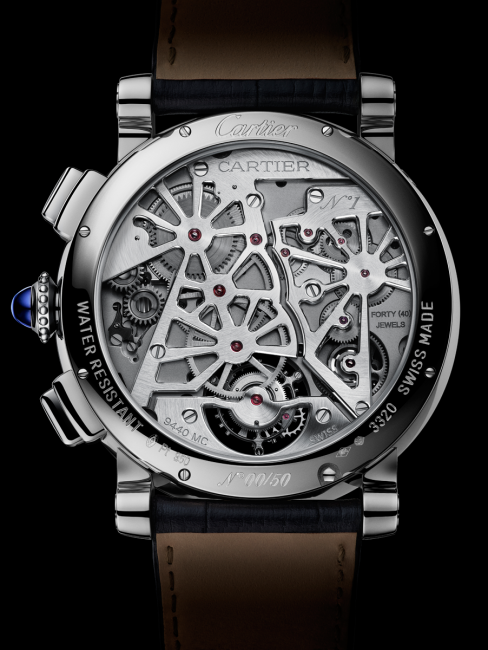 The back of the Rotonde de Cartier Earth and Moon watch showing the star shaped semi-skeletonised bridges on the 9440 MC movement.