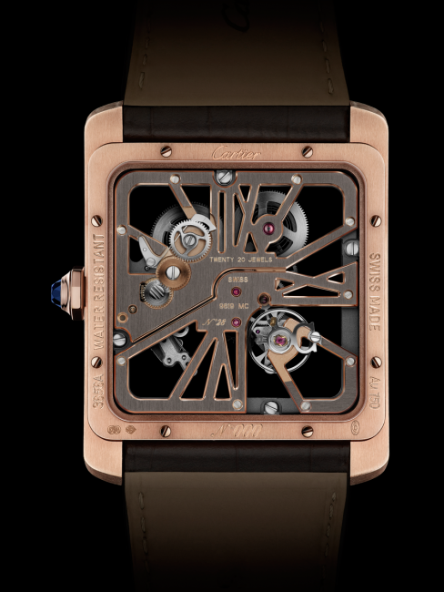 The back of the Cartier Tank MC Two-tone Skeleton