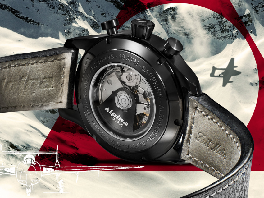 """The AL-860 caliber is visible trough the see trough back of the ALPINA Startimer """"Black Star"""""""