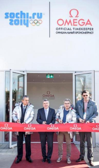 The OMEGA Pavilion was officially opened by Swatch Group CEO Nick Hayek, President of OMEGA Stephen Urquhart, IOC President Thomas Bach and legendary swimmer and IOC member Alexander Popov.